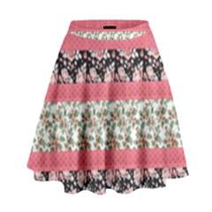 Cute Flower Pattern High Waist Skirt by Brittlevirginclothing