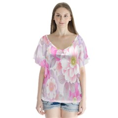 Cute Pink Flower Pattern  Flutter Sleeve Top