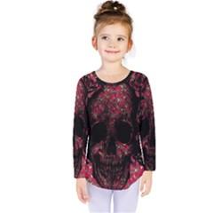 Vintage Pink Flowered Skull Pattern  Kids  Long Sleeve Tee