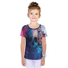 Colorful Space Skull Pattern Kids  One Piece Tee by Brittlevirginclothing
