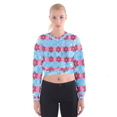 Pink Snowflakes Pattern Women s Cropped Sweatshirt by Brittlevirginclothing