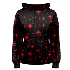 Bright Red Stars In Space Women s Pullover Hoodie by Costasonlineshop