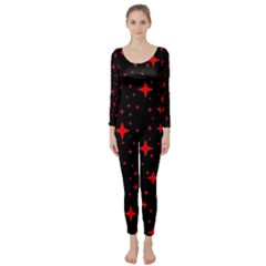 Bright Red Stars In Space Long Sleeve Catsuit by Costasonlineshop