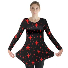 Bright Red Stars In Space Long Sleeve Tunic  by Costasonlineshop