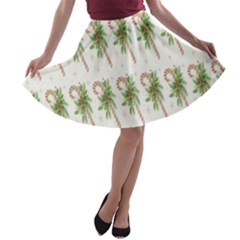Candy Cane Printable A Line Skater Skirt by AnjaniArt