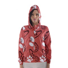 Face Cat Pink Cute Hooded Wind Breaker (women) by AnjaniArt