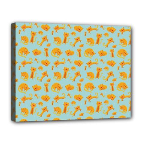 Cute Cat Animals Orange Canvas 14  X 11  by AnjaniArt