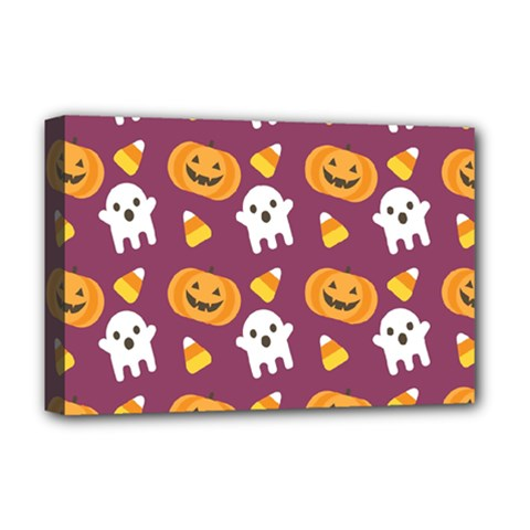 Pumpkin Ghost Canddy Helloween Deluxe Canvas 18  X 12   by AnjaniArt