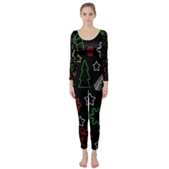 Colorful Xmas Pattern Long Sleeve Catsuit by Valentinaart