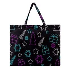 Creative Xmas Pattern Zipper Large Tote Bag by Valentinaart