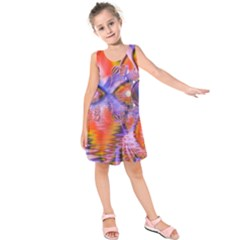 Crystal Star Dance, Abstract Purple Orange Kids  Sleeveless Dress by DianeClancy
