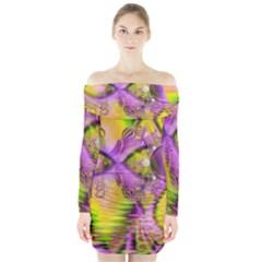 Golden Violet Crystal Heart Of Fire, Abstract Long Sleeve Off Shoulder Dress
