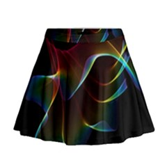 Imagine, Through The Abstract Rainbow Veil Mini Flare Skirt by DianeClancy