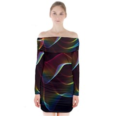 Imagine, Through The Abstract Rainbow Veil Long Sleeve Off Shoulder Dress by DianeClancy