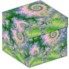 Rose Apple Green Dreams, Abstract Water Garden Storage Stool 12   by DianeClancy