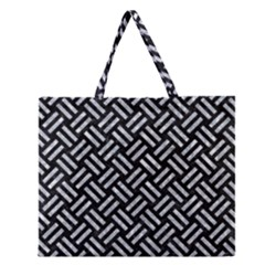 Woven2 Black Marble & Gray Marble Zipper Large Tote Bag by trendistuff