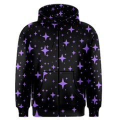 Bright Purple   Stars In Space Men s Zipper Hoodie by Costasonlineshop