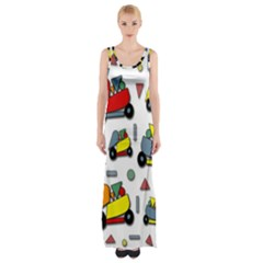 Toy Cars Pattern Maxi Thigh Split Dress by Valentinaart