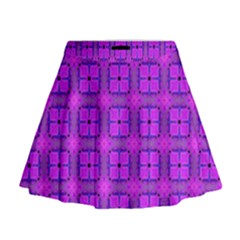 Abstract Dancing Diamonds Purple Violet Mini Flare Skirt by DianeClancy