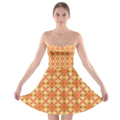 Peach Pineapple Abstract Circles Arches Strapless Bra Top Dress by DianeClancy