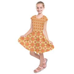 Peach Pineapple Abstract Circles Arches Kids  Short Sleeve Dress