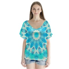 Blue Ice Goddess, Abstract Crystals Of Love Flutter Sleeve Top by DianeClancy