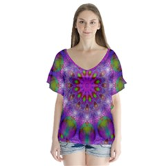 Rainbow At Dusk, Abstract Star Of Light Flutter Sleeve Top by DianeClancy