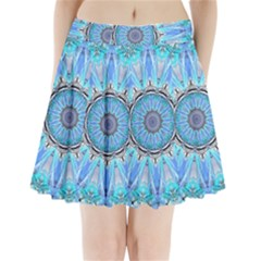 Sapphire Ice Flame, Light Bright Crystal Wheel Pleated Mini Skirt by DianeClancy