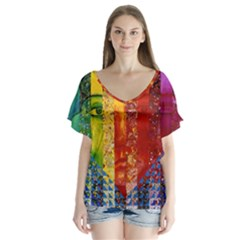 Conundrum I, Abstract Rainbow Woman Goddess  Flutter Sleeve Top by DianeClancy