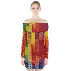 Conundrum I, Abstract Rainbow Woman Goddess  Long Sleeve Off Shoulder Dress by DianeClancy
