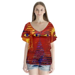 Conundrum Iii, Abstract Purple & Orange Goddess Flutter Sleeve Top by DianeClancy