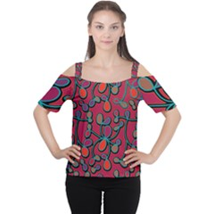Red Floral Pattern Women s Cutout Shoulder Tee by Valentinaart