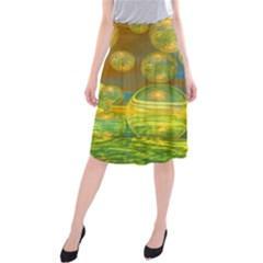 Golden Days, Abstract Yellow Azure Tranquility Midi Beach Skirt by DianeClancy