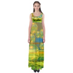 Golden Days, Abstract Yellow Azure Tranquility Empire Waist Maxi Dress by DianeClancy