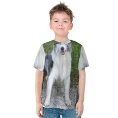 Blue Merle Border Collie Sitting Kids  Cotton Tee by TailWags