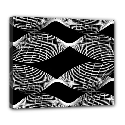 Wavy Lines Black White Seamless Repeat Deluxe Canvas 24  X 20   by CrypticFragmentsColors