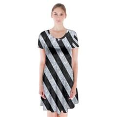 Stripes3 Black Marble & Gray Marble (r) Short Sleeve V Neck Flare Dress