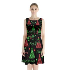 New Year Pattern   Red And Green Sleeveless Chiffon Waist Tie Dress by Valentinaart