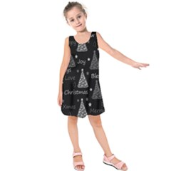 New Year pattern - gray Kids  Sleeveless Dress by Valentinaart