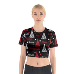 New Year Pattern   Red Cotton Crop Top by Valentinaart