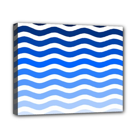 Water White Blue Line Canvas 10  X 8  by AnjaniArt