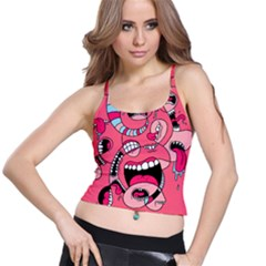 Big Mouth Worm Spaghetti Strap Bra Top by AnjaniArt