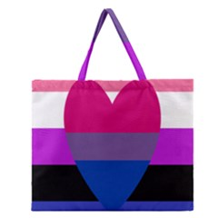 Combo Flag Zipper Large Tote Bag by AnjaniArt