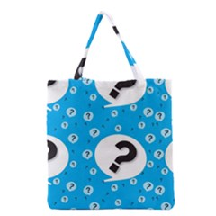 Blue Question Mark Grocery Tote Bag by AnjaniArt