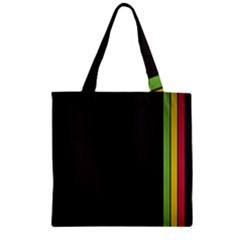 Brown White Stripes Green Yellow Pink Zipper Grocery Tote Bag by AnjaniArt