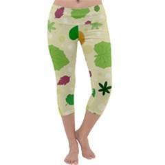 Leaves Pattern Capri Yoga Leggings