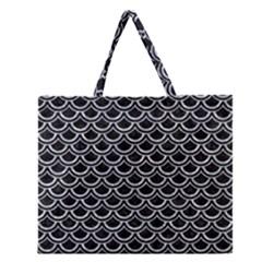 Scales2 Black Marble & Gray Marble Zipper Large Tote Bag by trendistuff