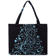 Elegant Blue Christmas Tree Black Background Mini Tote Bag by yoursparklingshop