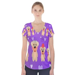 Happy Bears Cute Short Sleeve Front Detail Top by AnjaniArt