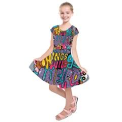Face Weird Monster Kids  Short Sleeve Dress by AnjaniArt